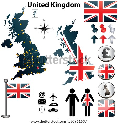Vector of United Kingdom set with detailed country shape with region borders, flags and icons - stock vector