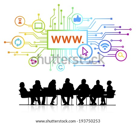 Vector of website themed background and silhouettes of business people sitting around the conference table. - stock vector