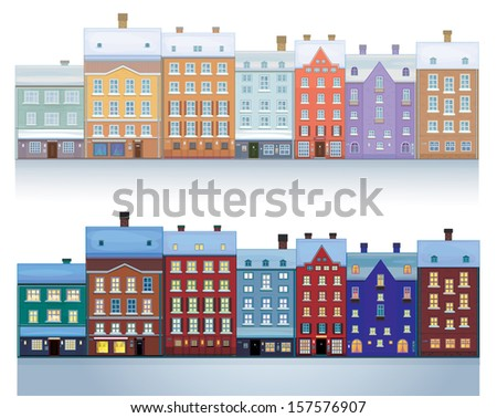 Vector of  winter city isolated  daytime and nighttime scenes. - stock vector