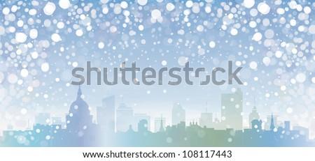 Vector of winter cityscape. - stock vector