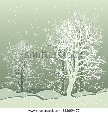 Vector of winter scene with forest background, fantasy winter landscape winter scene with snowflakes. For Christmas cards and book cover design - stock vector