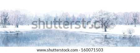 Vector of winter scene with river and forest background isolated on white.  - stock vector