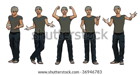 Vector of young man - part 02 - stock vector