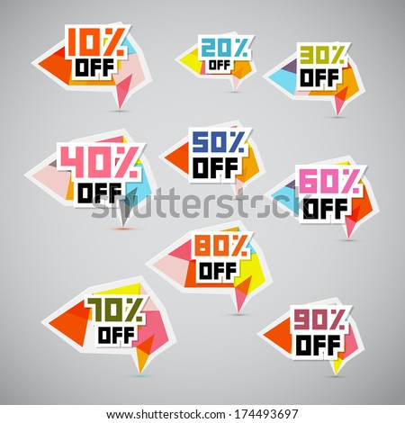 Vector 10% off, 20% off, 30% off, 40% off, 50% off, 60% off, 70% off, 80% off, 90% off, Stickers, Labels  - stock vector