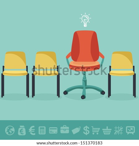 Vector office concept - office chairs in flat retro style and business icons - stock vector