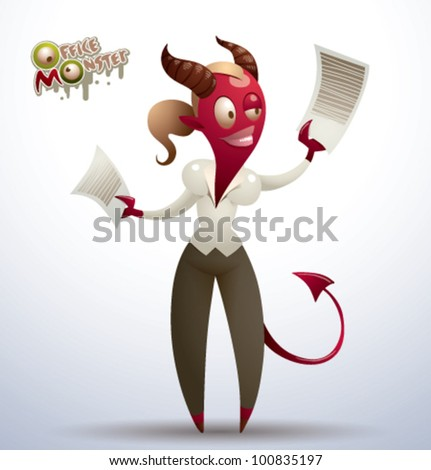 vector  office monster 8 - stock vector