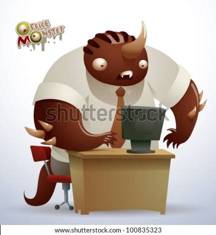 vector  office monster 5 - stock vector