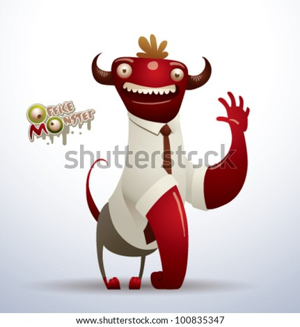 vector  office monster 3 - stock vector
