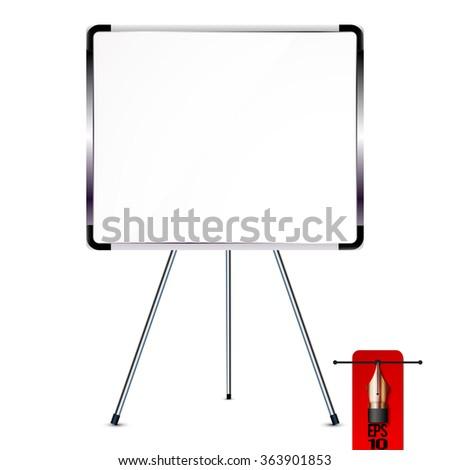 Vector office whiteboard of flip chart on metal tripod - stock vector