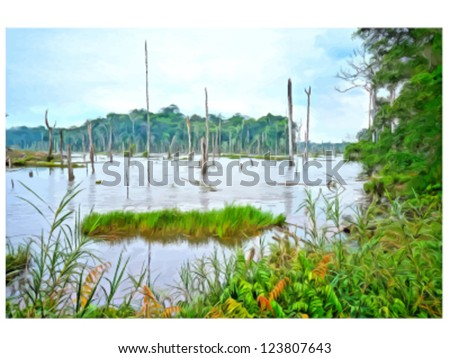 "Vector ""oil painting"" landscape. swampy area. - stock vector"