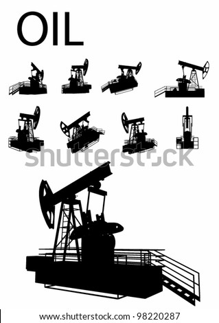 Vector Oil Rig Silhouette Set - stock vector