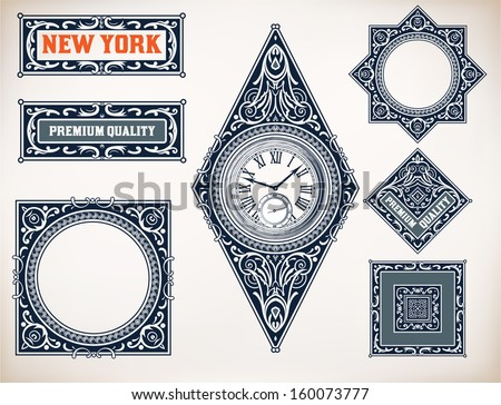 Vector old baroque card set. Floral and watch details - stock vector
