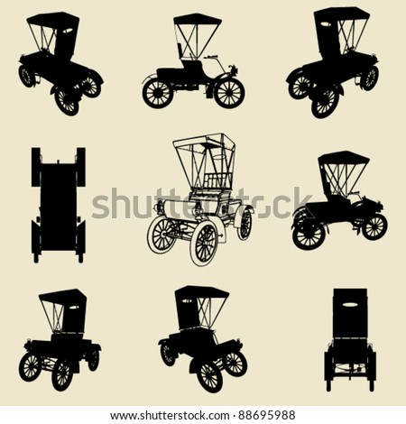 vector old car silhouette set - stock vector