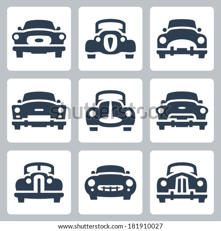 Vector old cars icons set, front view - stock vector
