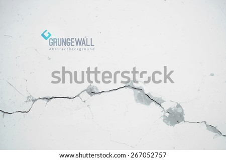 vector old cracked wall, grunge background with logo and sample text - stock vector