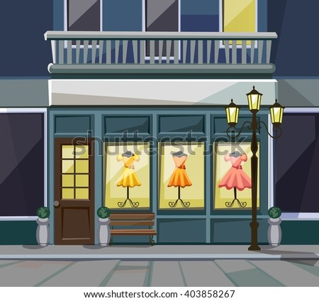 Vector Old Europian Shop Boutique Museum Restaurant Cafe Store Front with Big Windows, Place for Name, Greenery, Street Lanterns and Paving Stones - stock vector