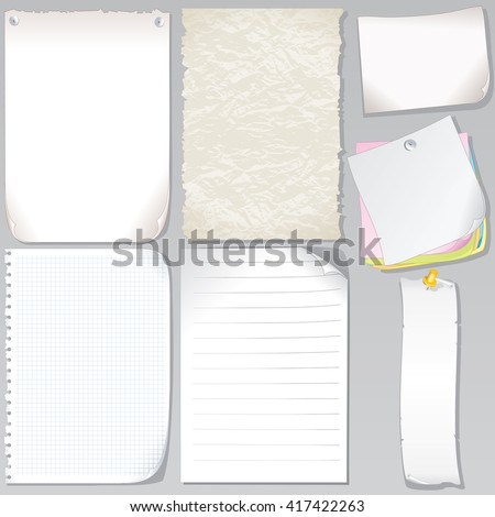 Vector Old Paper Sheets. Graph Paper, Torn Paper, Notepad Page, Stickers and Sticky Note - stock vector