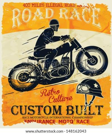 vector old school race poster. - stock vector