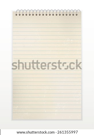 Vector old spiral notebook with lines. Use for antique, retro, vintage, old, rustic style too. Eps 10. - stock vector