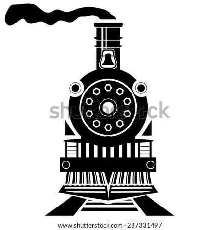 Vector Old Train Silhouette Isolated on White Backgroound - stock vector