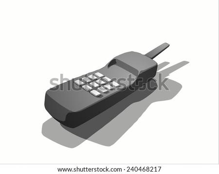 vector old wireless phone - stock vector