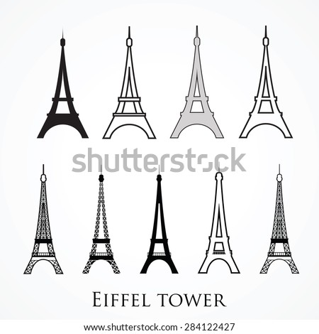 Vector one color  set of Eiffel tower. Symbol of Paris and France. For T-shirt design and travel theme. EPS 10 - stock vector