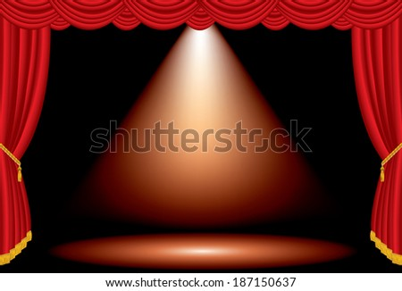vector one red spot on wide stage with red curtain  - stock vector
