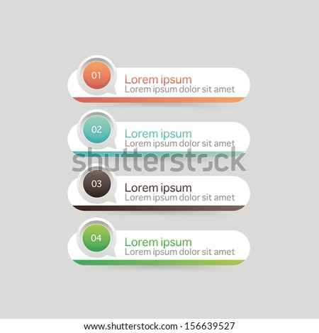 Vector One Two Three Four steps, progress banners and navigation elements with colorful tags. - stock vector