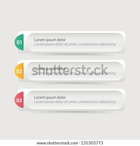 Vector One Two Three steps, progress banners with colorful tags. - stock vector