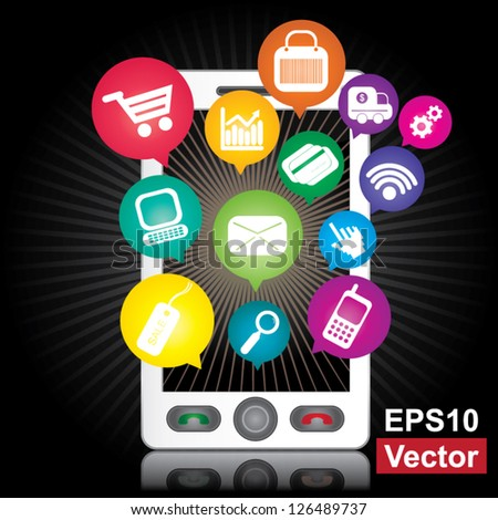 Vector : Online Business and E-Commerce Concept Present By White Smart Phone With Blank Screen For Your Own Text Message and Group of Colorful E-Commerce Icon Above in Dark Background - stock vector