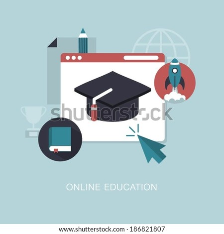 vector online education concept illustration - stock vector