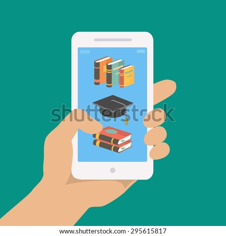 Vector online education concept in flat style. hand holding mobile phone with educational app on the screen.   Distant e-learning - stock vector