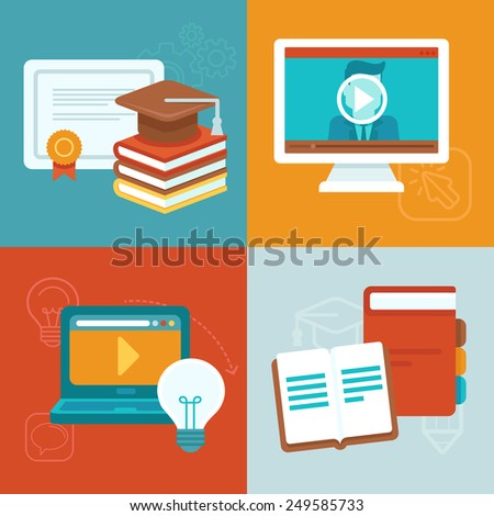 Vector online education concepts and icons in flat style - webinar and internet training - stock vector