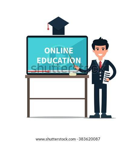Vector online education illustration of teacher with tablet look like school board. Online education background. Online education concept. - stock vector