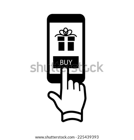 Vector online shopping and ecommerce on smartphone with one finger gesture business and technology icon | black flat design pictogram isolated on white background - stock vector