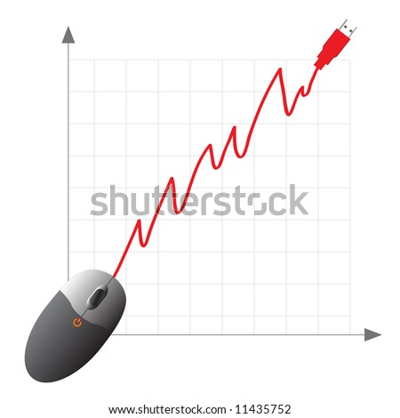 Vector - Online shopping ecommerce concept with mouse showing increase in profits. - stock vector