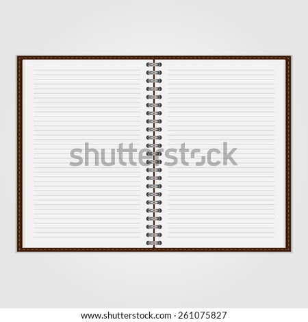 Vector open blank notebook and reminder note. - stock vector