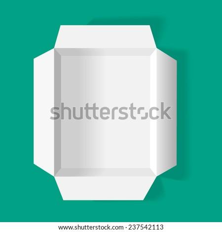 vector open cardboard box top view - stock vector