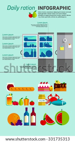 Vector open fridge full of healthy fresh food. Natural vegetables and fruit in flat style. Diet or lifestyle illustration. Daily meal, organic ration. Kitchen staff. Infographic - stock vector