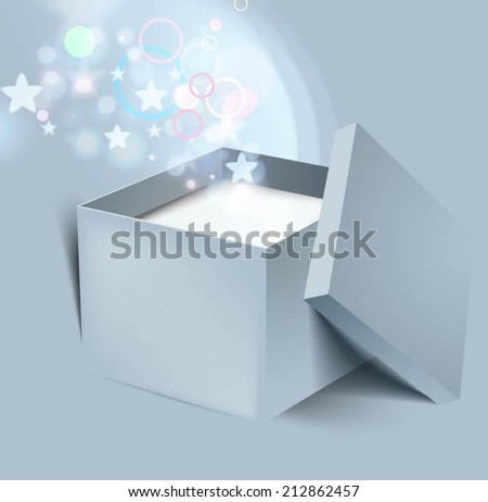 Vector open gift box illustration.  - stock vector