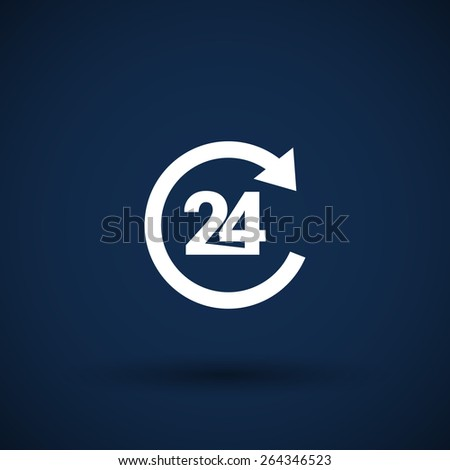 Vector open 24 hours icon icon clock time delivery  - stock vector