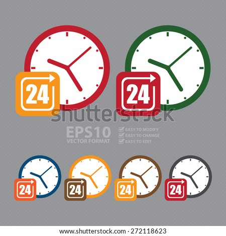 Vector : Open 24 Hours or Service 24 Hours Label, Sign or Icon - stock vector