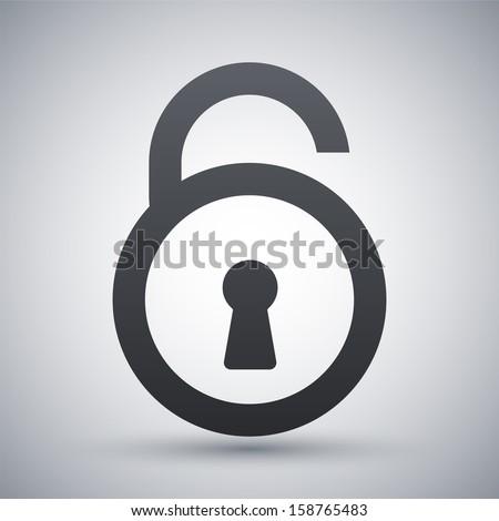 Vector open padlock icon - stock vector