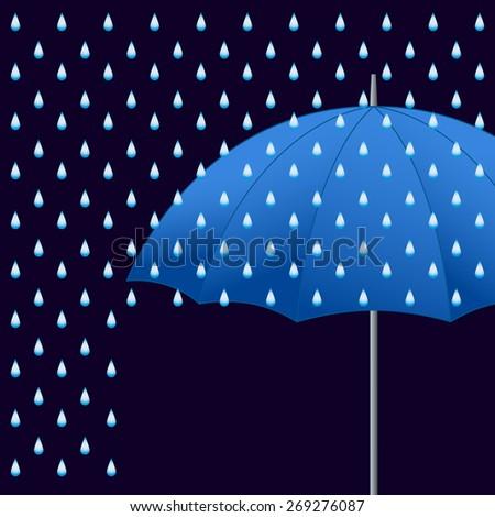 Vector opened blue umbrella and rain on dark background. - stock vector
