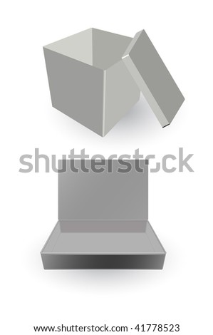 vector opened card-boxes isolated on white - stock vector