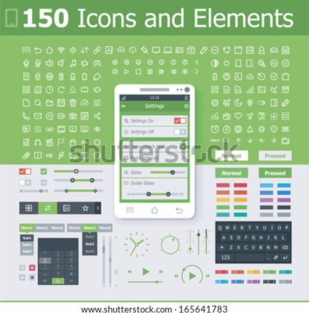 Vector operating system interface elements and icon set - stock vector