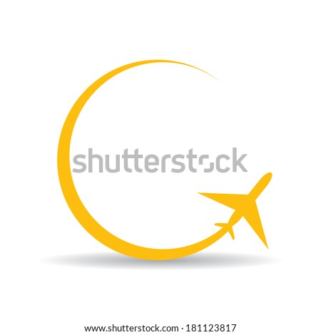 vector orange airplane icon. vector airplane silhouette - stock vector
