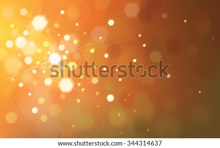 Vector orange background with lights and polygons. - stock vector