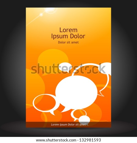 Vector orange brochure cover design with text bubbles. EPS 10 - stock vector