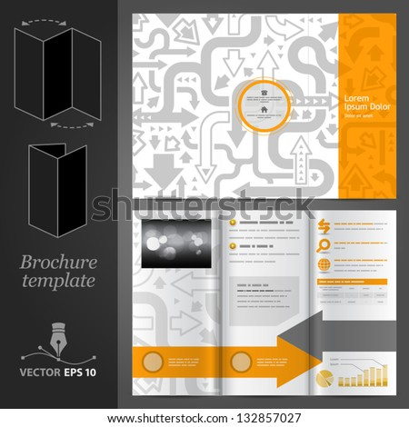 Vector orange brochure template design with gray arrows. EPS 10 - stock vector
